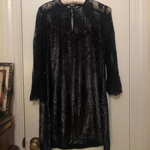 Sparkly black velvet and lace dress